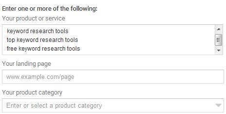 Enter keywords in keyword planner